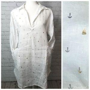Forcynthia Beachwear Linen Nautical Swim Cover T